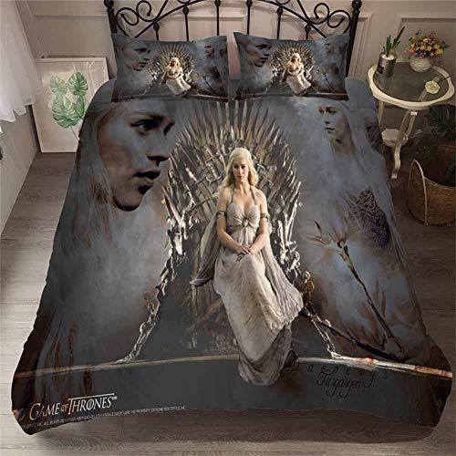 Bettbezug-Set 100% Mikrofaser 3D Gedruckt Game of Thrones Bettwäsche Set 3 Stück mit 2 Kissenbezügen für Jungen, Kinder und Jugendliche,A,Twin (Jungen Bettwäsche-sets Twin)