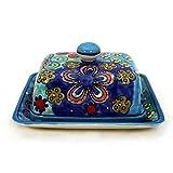 Gall&Zick Butterdose mit Deckel Butterbehälter Keramik Handbemalt Bunt (Blauer Rand)