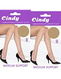Ladies Cindy Medium Weight Everyday Comfort Support Tights (2 Pair Multi Pack)