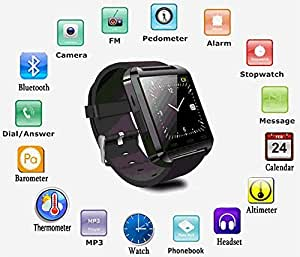 Jiyanshi Smart Android U8 Bracelet Watch and Activity Wristband / Wireless Bluetooth Connectivity / Pedometer / Stop Watch / Barometer Android / IOS Mobile Phone Wrist Watch With Activity Trackers and Fitness Band Features Compatible With iBall Andi 4D i+