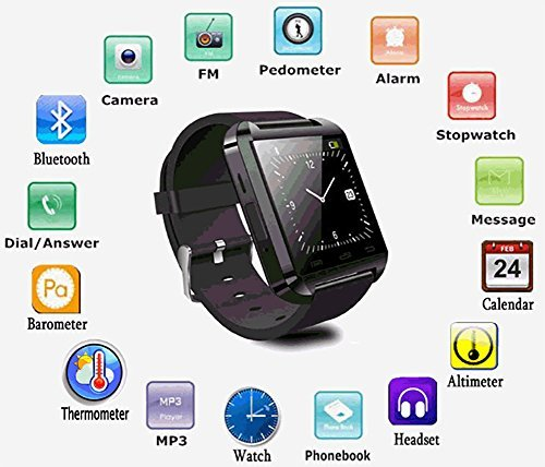 Videocon Dost V1550 COMPATIBLE Smart Android U8 Bracelet U Watch and Activity Wristband, Wireless Bluetooth Connectivity Pedometer COMPATIBLE WITH XOLO BLACK BY JIYANSHIAndroid/IOS Mobile Phone Wrist Watch Phone with activity trackers and fitness band features by JIYANSHI  available at amazon for Rs.799