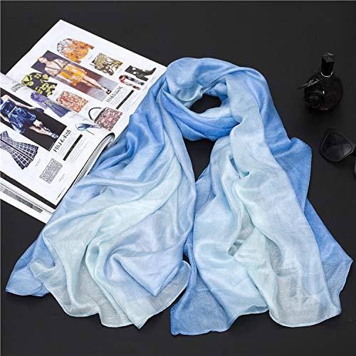 YOUR LIFE Seidenschal Schal niederländische Flachs weibliche Hand bemalt EIN Gradient von Baumwolle Strandtuch, Sonnencreme Garn Handtuch 11#Light Blue Gradient -