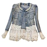 Fanmay Elegant Stylische Damen Mädchen Denim Jacke Mit Sicken Frauen Schlank Cute Stitch Spitze Jeans-Jacke (EU 30(CN: S), Blau)