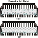 Sweet Jojo Designs Turquoise Blue and Gray Earth and Sky Long Front Rail Guard Baby Teething Cover Crib Protector Wrap
