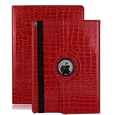 Smart Case for iPad Air 2, elecfan ® 360 Grad Rotierende PU Leder Hülle Ultra Dünnen Leichtgewicht Tasche Wasserdicht Case Smart Cover mit Ständer Multi Winkel Betrachtung Anti Kratzer Schutzhülle für iPad Air 2 (iPad Air 2, Rot)