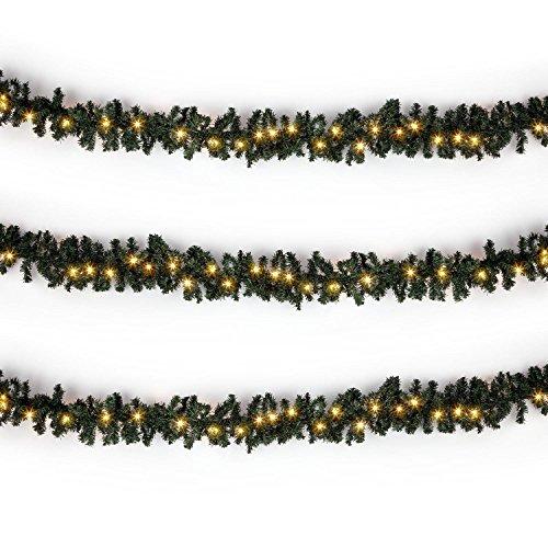 Blumfeldt Forsthaus decorazione natalizia ghirlanda pino illuminata (lunghezza 12 m, cavo alimentazione 2.4 m, realistici rami di pino, 180 luci LED) - bianco acceso - Ruscello Sistema