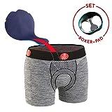 FOR Bicy Herren Boxershorts Urban Life mit Pad, Grey Melange/Black, S/M, U100001