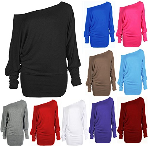 Crazy Girls Red Olives® Womens Long Sleeve One Off-Shoulder Plain Baggy Batwing Top UK8-24