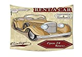 Cars Decor Kollektion Vintage Mietwagen Commercial Illustration Print mit Schlüssel Original datiert Auto Objekte Design Schlafzimmer Wohnzimmer Wohnheim Wand Gobelin Tan rot, mehrfarbig, 59W By 39.3L Inch