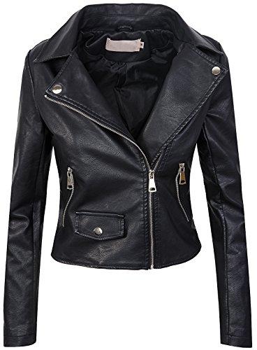 #Damen Biker Jacke Lederjacke D-271 [PU-2221B Schwarz 42]#