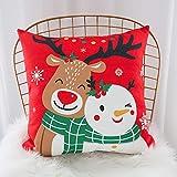 ARAYACY Weihnachtskissenbezug, 2 StüCk New Year Kissen Cartoon Rentier Sofa Kissen BüRo Nickerchen,G