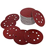 Yakamoz 50pcs 8 Trous Φ125mm Disques de Ponçage Alumine Papier de Sable Forme Ronde Pour Ponceuse Disques de Meulage Crochet et Boucle Disque de Polissage 40/60/80/120/180/240/320/400/600/800 Grit