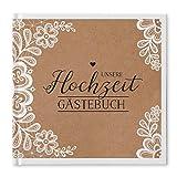 bigdaygraphix Gästebuch Hochzeit quadratisch 21 x 21cm 100 weiße Seiten Sweet Vintage