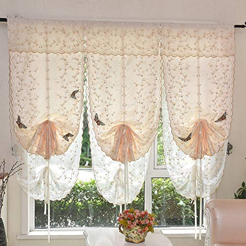 HSMM Gaze,Vorhänge,Ballon-vorhänge,Römische farbtöne,Haken,Heben sie vorhänge,Partitionen Transluzent Ventilator Wohnzimmer Bay-Fenster-A 100x60cm(39x24inch) - Farbtöne Schwarze Römische