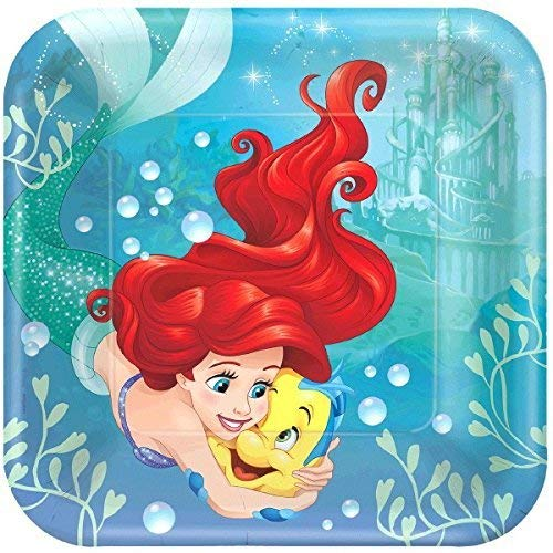Disney Ariel The Little Mermaid Dream Big Square Dinner Lunch 9 Plates Party Supplies by Amscan (Ariel Little Mermaid Party)