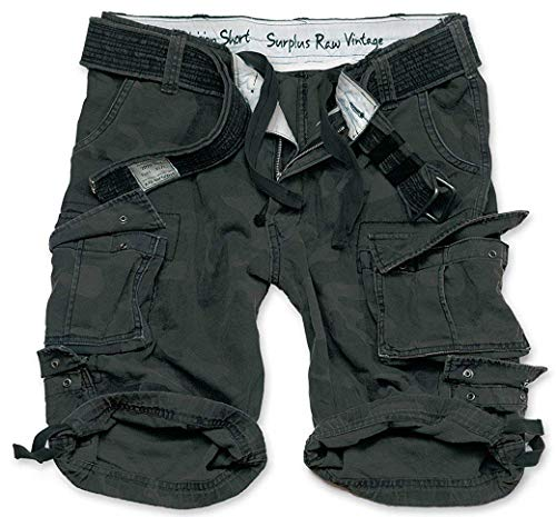 Camo Shorts Herren (Surplus Division Shorts gewaschen, Black camo, L)