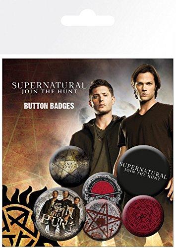 1art1 91314 Supernatural - Saving People, 4 X 25mm & 2 X 32mm Buttons Button Pack 15 x 10 cm - Jensen Button