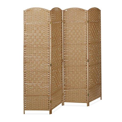 Relaxdays Paravent BYÖBU hoch H x B x T: 179 x 180 x 2 cm faltbarer Sichtschutz aus 4 Elementen auch als Raumteiler mit Bambus Streben Spanische Wand und...