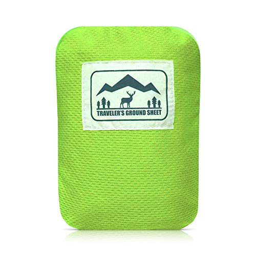"Reliable Outdoor Gear ""Pocket Blanket\"" (Traveler\'s Ground Sheet) for Hiking, Camping, Beach and Picnic - Water Resistant, Compact Storage Pouch, Weights 140 Grams, Measures 1.9 x 1.27 Meters ..."