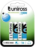 Uniross Performance 4 X AAA 1000  Series Rechargeable Batteries
