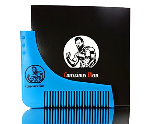 CONSCIOUS MAN Bart-Rasur-Schablone mit Kamm | Inkl.Verpackung & Gebrauchsanleitung als PDF | Kreiere schnittige Konturen in Sekunden | Das Bart Styling Tool für perfekte Symmetrie | Rasierschablone