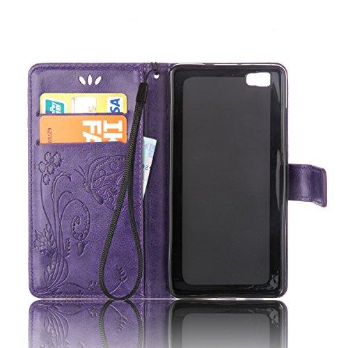 Coque Huawei P8 Lite Anfire Fleur et Papillon Motif Peint Mode Coque PU Cuir Etui Case Protection Portefeuille Rabat Étui Coque Housse pour Huawei P8 Lite Huawei ALE-L21 (5.0 pouces) Luxe Style Livre  Violet