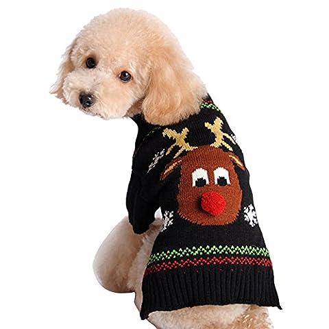Eizur Haustier Hund Weihnachten Rentier Muster Pullover Winter Warm Bekleidung Hundekleidung Kleidung Kleider Geschenk für Hundewelpen Größe M