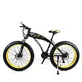 KNFBOK Bicicleta Trek Bicicleta de montaña de 21 velocidades y 26 Pulgadas Disco de neumático Ancho Amortiguador Bicicleta de Estudiante Acero de Alto Carbono Adecuado para Nieve, Carreteras, Playa