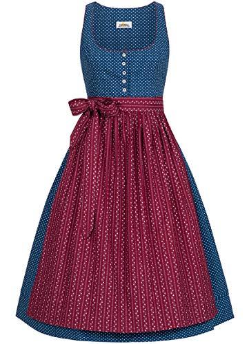 Almsach Damen Trachten-Mode Midi Dirndl Renate traditionell Gr.32-54, Größe:40, Farbe:Blau/Weinrot