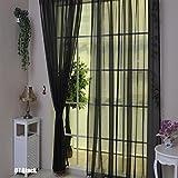 Rideau voile Rungao couleur florale pour la maison, noir, Noir