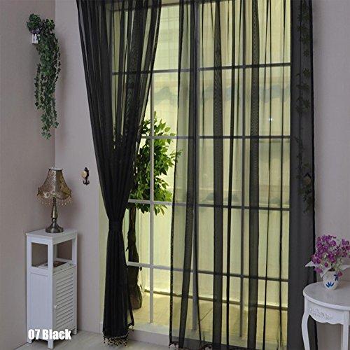 rungao Farbe Floral Voile Vorhang House Decor Tür Fenster Vorhang Panel Sheer Volants Schal, schwarz, Schwarz