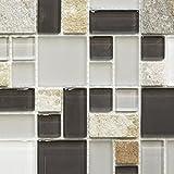Mosaik Fliese Transluzent grau braun Kombination Glasmosaik Crystal Stein grau braun für BODEN WAND BAD WC DUSCHE KÜCHE FLIESENSPIEGEL THEKENVERKLEIDUNG BADEWANNENVERKLEIDUNG Mosaikmatte Mosaikplatte