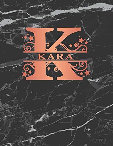 Womens Kara Rose (Kara: Personalized Journal Notebook for Women or Girls. Monogram Initial K With Name. Black Marble & Rose Gold Cover. 8.5