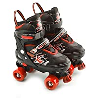 MTS Childrens Adults Kids Boys Girls 4 Wheel Adjustable Quad Roller Skates Boots (Red, Small/UK 11-1/)