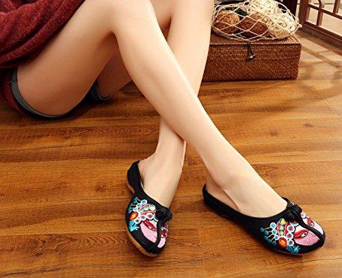 DESY scarpe ricamate, unico tendine, stile etnico, femminile infradito, moda, comodi, sandali casuali Black