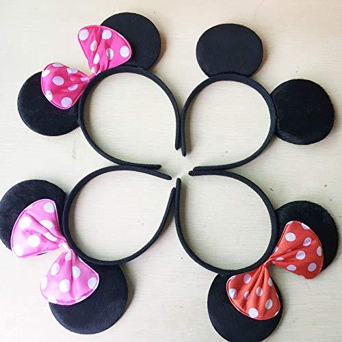 Hapyshop Minnie Mickey Ohren 12 stücke Stirnbänder Schwarz Rot Polka Dot Bogen Geburtstag Party Favors Kinder Mädchen Jungen rote Rose Black & rosa Haarbänder