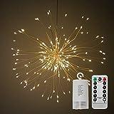Alitoo Schnur-Licht, batteriebetriebenes hängendes Starburst-Licht 120 LED, feenhafte Twinkle beleuchtet 8 Modi Dimmable mit Fernbedienung, Dekoration für Patio-Hochzeitsfest im Freien