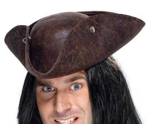 Smiffys Herren Piratenhut, Dreispitz Hut in Lederoptik, One Size, Braun, 34564