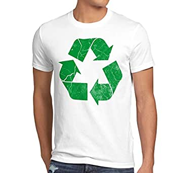 style3 Recycle T-Shirt Homme leonard sheldon, Taille:S;Couleur:Blanc