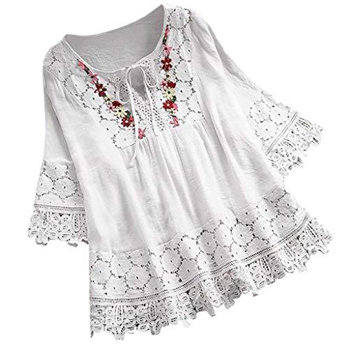 Weant Damen T-Shirt Sommer Langarm mit V Ausschnitt Lang Solide Mode Lässige Lose Sexy Crop Mode Tunika Kurzarm Oberteil Tops Bluse Shirt -