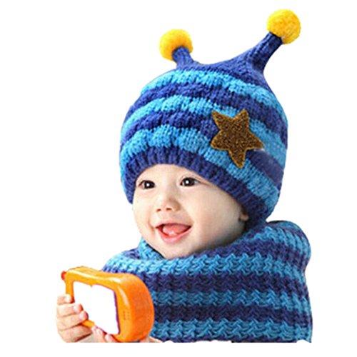 Babybekleidung Hüte & Mützen Longra Niedliche Winter Baby jungen und Mädchen Kleinkind Bee entwerfen wolle Hut Kapuzen Schal Ear Flap Hüte Mützen (Blue) - Fleece-flap Hat