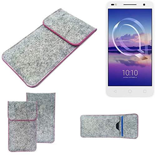 K-S-Trade® Filz Schutz Hülle Für -Alcatel U5 HD Dual SIM- Schutzhülle Filztasche Pouch Tasche Case Sleeve Handyhülle Filzhülle Hellgrau Pinker Rand