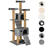 TecTake Large cat tree with scratching post activity center 169cm | 3 platforms | 2 caves - different colours - (grey | No. 402192)