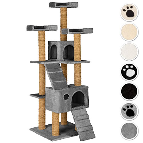 tectake-large-cat-tree-with-scratching-post-activity-center-169cm-3-platforms-2-caves-different-colo