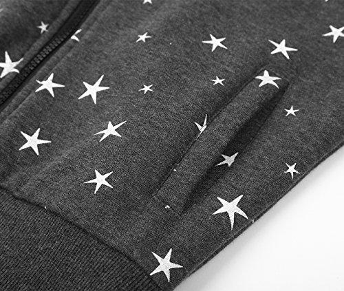 EA Selection Winter Damen Hoodie Sweatshirt Sterne Muster Kapuzenpullover Grau Stern