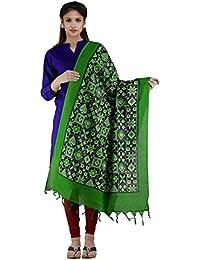 Unnati Silks Women Black-Green Pure Pochampally Ikkat Printed Dupatta