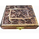 Floral Square Wooden Box Hand Carved Jewelry Box /Jewelry Display Gift Box