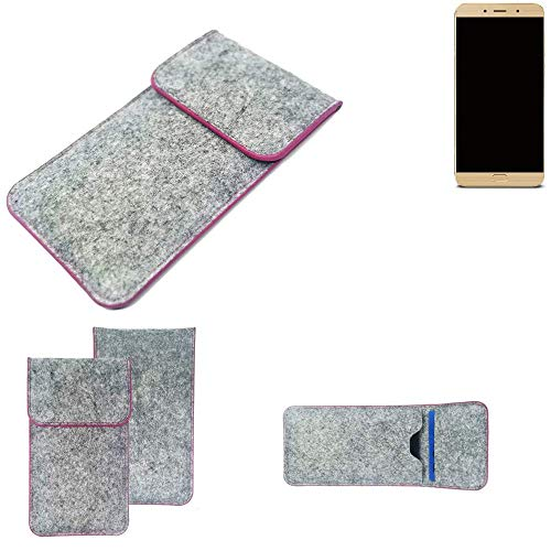 K-S-Trade® Filz Schutz Hülle Für -Allview X4 Soul Lite- Schutzhülle Filztasche Pouch Tasche Case Sleeve Handyhülle Filzhülle Hellgrau Pinker Rand