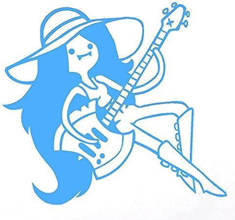 Marceline (/W Hache Guitare pour ordinateur portable–Sticker vinyle–Adventure Time 14x 12cm, Vinyle, bleu clair, 14x12