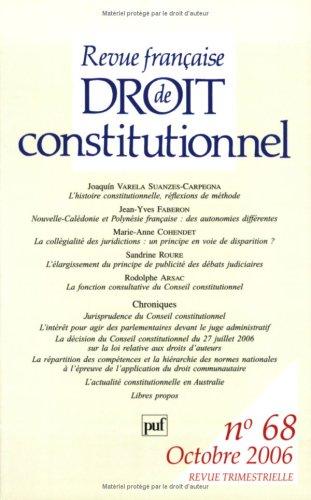 Revue française de Droit constitutionnel, N° 68, Octobre 2006 :